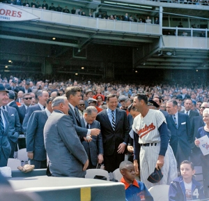 President John F. Kennedy shakes hands with Washington Senators Manager,  Mickey Vernon,  during opening day of the 1963 season at D.C. Stadium.