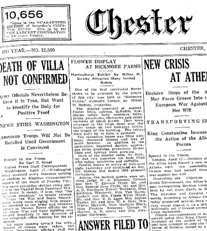 Chester Times, April 17, 1916.